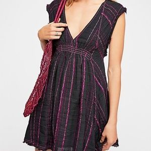 Free People black dress with purple lines Sz S